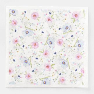 Pastel Floral Springtime Flowers Paper Napkins