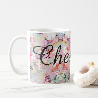 Pastel floral water color personazlied mug