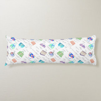 Pastel Floral Watercolor Illustrations Typography Body Pillow