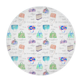 Pastel Floral Watercolor Illustrations Typography Cutting Board