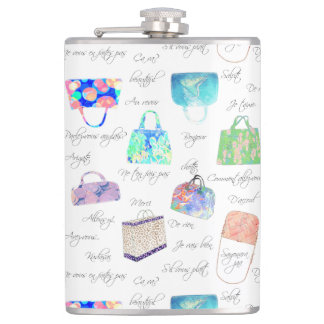 Pastel Floral Watercolor Illustrations Typography Hip Flask