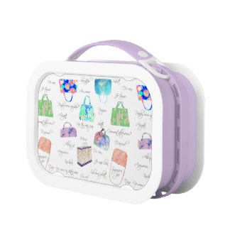 Pastel Floral Watercolor Illustrations Typography Lunch Box