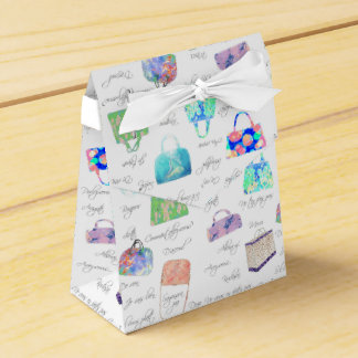 Pastel Floral Watercolor Illustrations Typography Party Favor Boxes