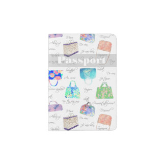 Pastel Floral Watercolor Illustrations Typography Passport Holder