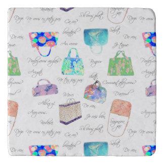 Pastel Floral Watercolor Illustrations Typography Trivet