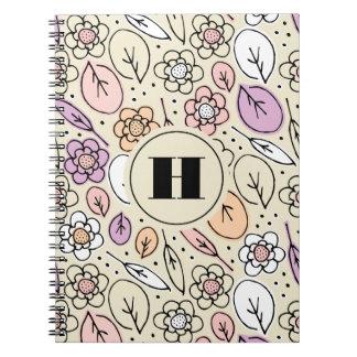 Pastel Florals & Leaves Monogram Note Book