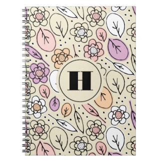 Pastel Florals & Leaves Monogram Notebook
