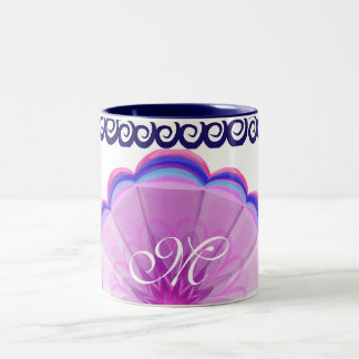 """Pastel flower and star theme""  with monogram Two-Tone Coffee Mug"