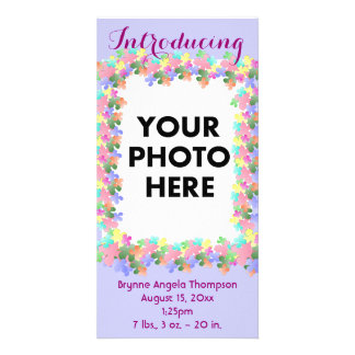 Pastel Flower Collage Custom Birth Announcement Picture Card