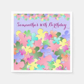 Pastel Flower Collage Custom BIRTHDAY Paper Napkin