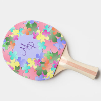 Pastel Flower Collage Monogrammed Ping Pong Paddle
