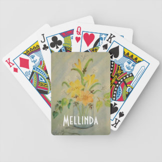 Pastel flower drawing bicycle playing cards