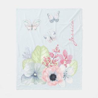 Pastel Flowers and Butterflies Fleece Blanket