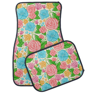 Pastel Flowers and Roses In Pink Blue And Beige Car Mat