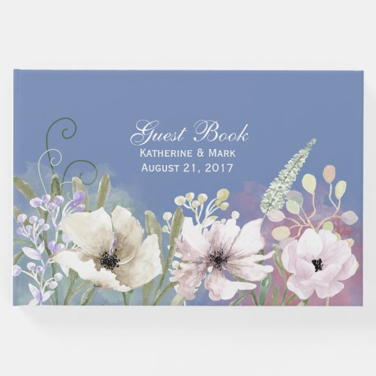 Pastel Flowers Blue Wedding Guest Book