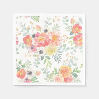Pastel Flowers Disposable Napkins