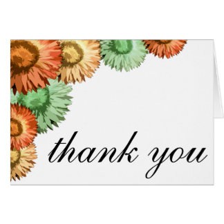 Pastel Flowers Mint Coral Peach Thank You Card