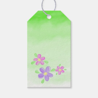 Pastel Flowers on Green Gift Tags