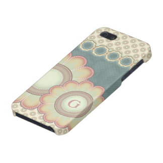 Pastel Folk Art Flowers Monogram iPhone 5/5S Cases