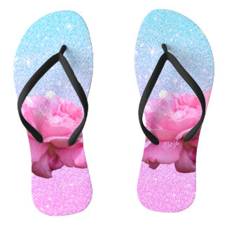 Pastel Galaxy Glitter Rose Flip Flops / Sandals