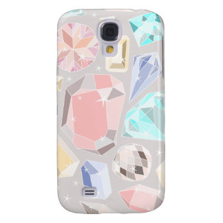 Pastel Gemstone Diamond Pattern PInk Aqua Gems