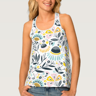 Pastel Geometric Blooms Patterned Tank Top