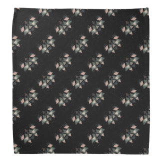 Pastel Geometrical Forms And Dots On Black Bandana