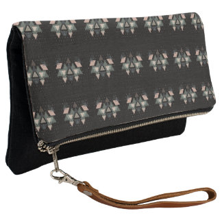 Pastel Geometrical Forms And Dots On Black Clutch