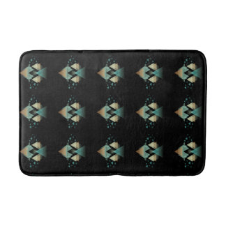 Pastel Geometrical Forms On Black Bath Mat