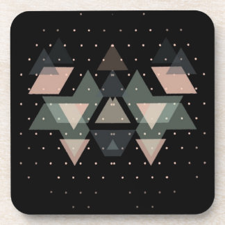 Pastel Geometrical Forms On Black Coaster