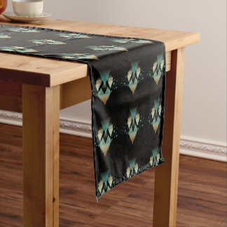 Pastel Geometrical Forms On Black Short Table Runner