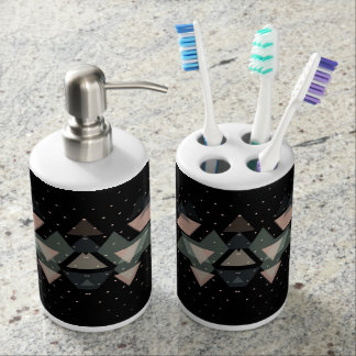 Pastel Geometrical Forms On Black Toothbrush Holders