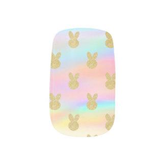 Pastel Glitter bunny Minx Nail Art