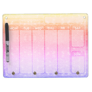 Pastel Glitter Days of the Week Weekdays Dry Erase Board With Keychain Holder