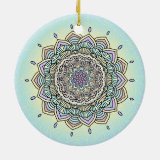 Pastel Glow Mandala ID359 Ceramic Ornament