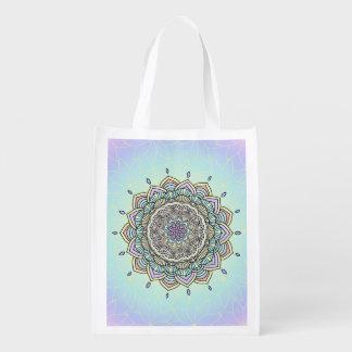 Pastel Glow Mandala ID359 Reusable Grocery Bag