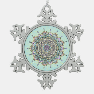 Pastel Glow Mandala ID359 Snowflake Pewter Christmas Ornament