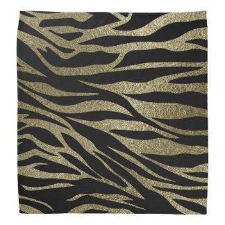 Pastel Gold  Glitter Tiger print on black Bandana