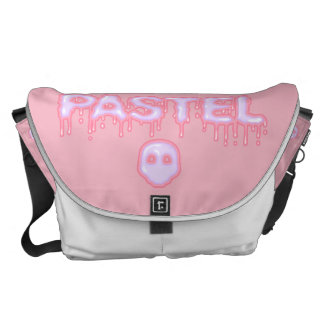 Pastel Goth Skull and Drippy Text Creepy Cute Courier Bag