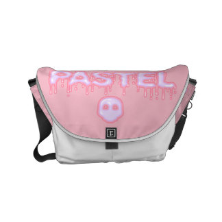 Pastel Goth Skull and Drippy Text Creepy Cute Messenger Bag