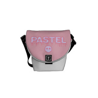 Pastel Goth Skull and Drippy Text Creepy Cute Messenger Bags