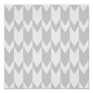 Pastel Gray and White Chevron Pattern. Poster