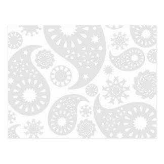 Pastel Gray and White Paisley Pattern Design. Postcard