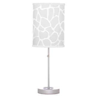 Pastel Gray Animal Print Giraffe Pattern Table Lamp