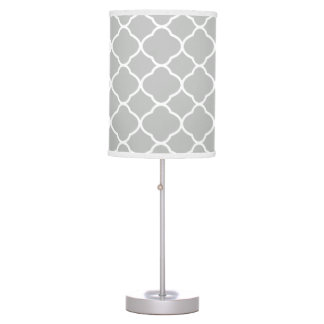 Pastel Gray Quatrefoil Pattern Table Lamp