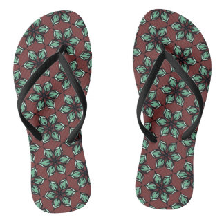 Pastel green apple blossom kaleidoscope flip flops