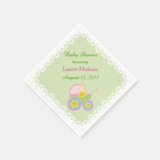Pastel Green Baby Buggy Shower Disposable Napkins
