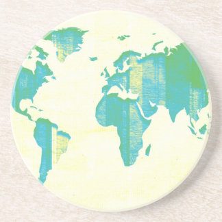 Pastel Green Blue Stripes Map Coaster