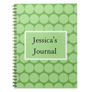 Pastel Green Circles and Rectangle Spiral Notebook