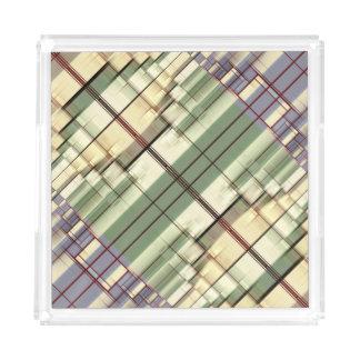 Pastel Green Cream Gray Geometrical Retro Pattern Acrylic Tray